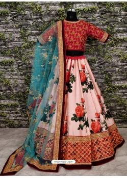 Pink Raw Silk Heavy Embroidered Designer Lehenga Choli