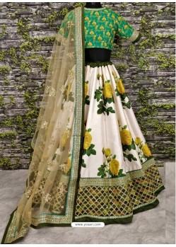 Green And Cream Raw Silk Heavy Embroidered Designer Lehenga Choli