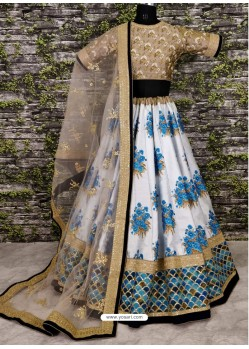 Multi Colour Raw Silk Heavy Embroidered Designer Lehenga Choli