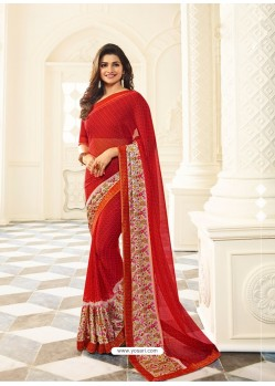 Red Rangoli Designer Printed Saree