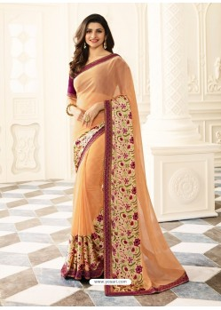 Light Orange Rangoli Designer Printed Saree