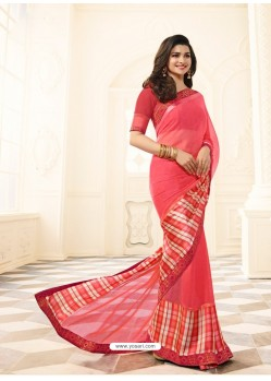 Dark Peach Rangoli Designer Printed Saree