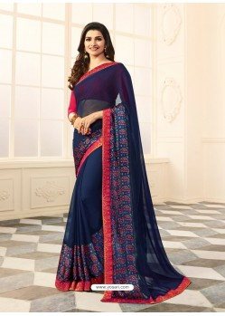 Navy Blue Rangoli Designer Printed Saree