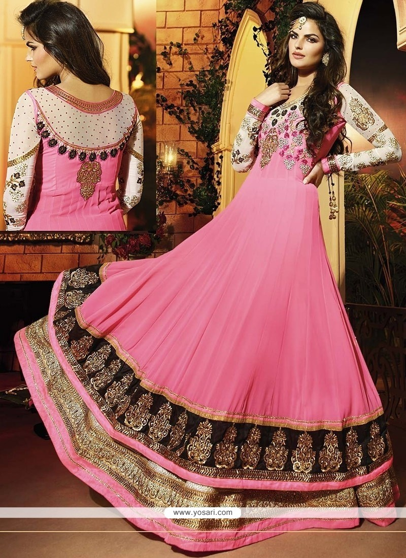 Pink Georgette Floor Length Anarkali Suit