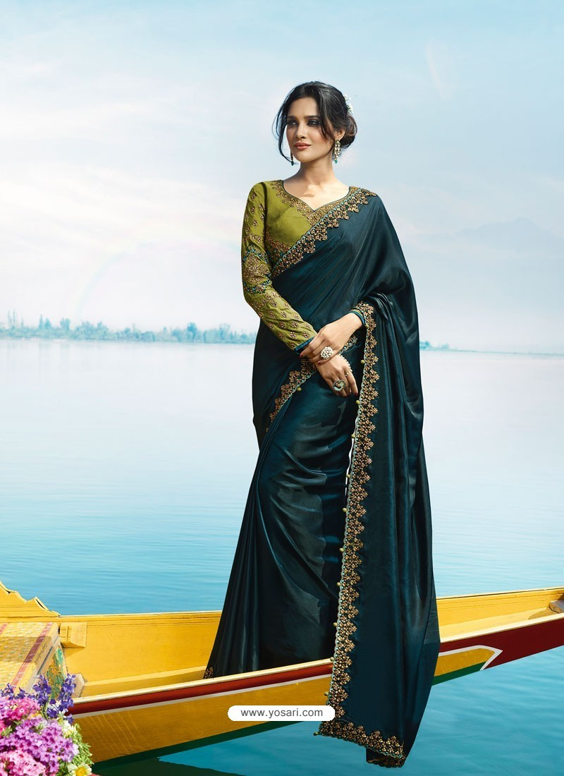 fe0a3b0b57 Buy Peacock Blue Silk Designer Party Wear Saree | Party Wear Sarees