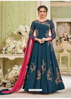 Teal Blue Georgette Embroidered Designer Floor Length Anarkali Suit