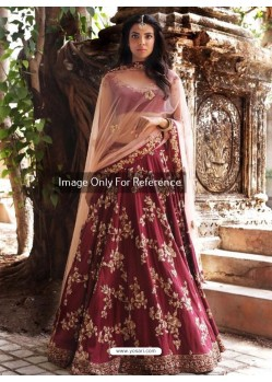 Wine Peach Malai Satin Embroidered Designer Lehenga Choli