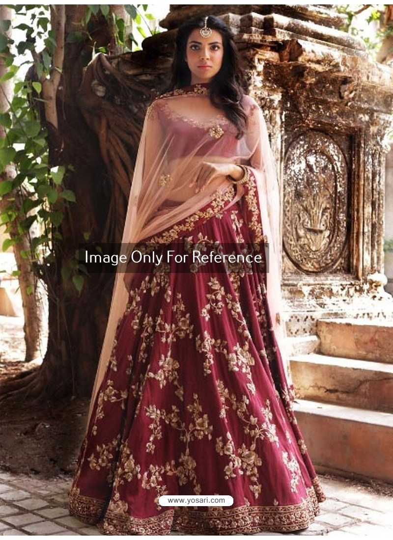 2a6296afb3 Buy Wine Peach Malai Satin Embroidered Designer Lehenga Choli ...