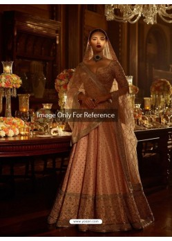 Peach Malai Satin Embroidered Designer Lehenga Choli