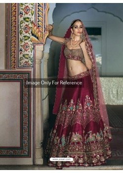 Deep Scarlet Thai Silk Embroidered Designer Lehenga Choli