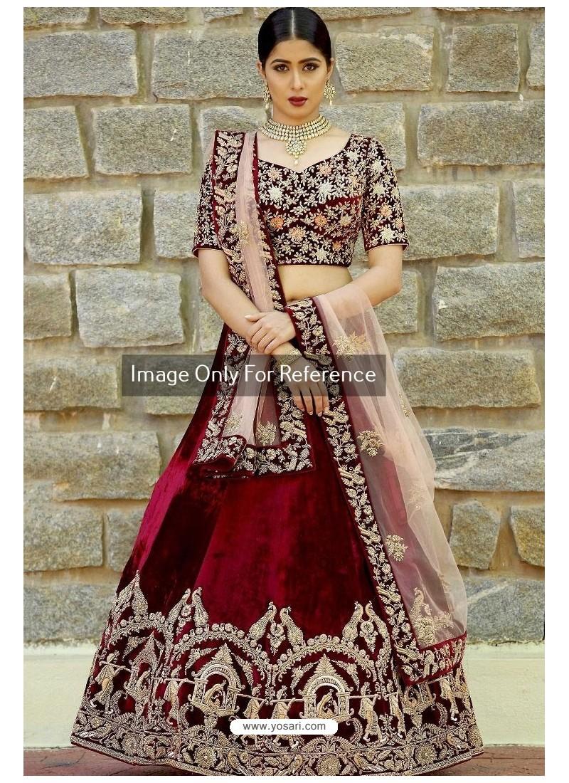 cbb744b494 Buy Maroon Velvet Embroidered Designer Lehenga Choli | Designer ...