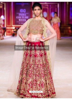 Beige And Crimson Malai Satin Embroidered Designer Lehenga Choli