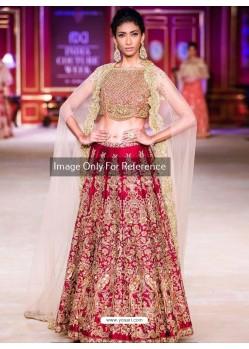 Beige And Crimson Malai Satin Embroidered Designer Lehenga Choli