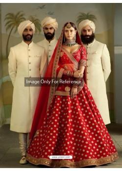 Red Malbari Silk Embroidered Designer Lehenga Choli