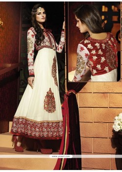 Fab White Georgette Anarkali Suit