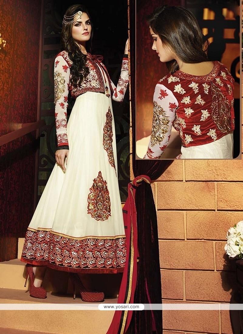 Fab White Georgette Anarkali Suit