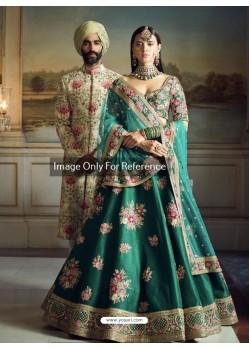 Dark Green Phantom Silk Embroidered Designer Lehenga Choli