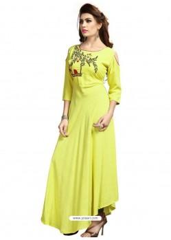 Lemon Rayon Embroidered Designer Readymade Kurti