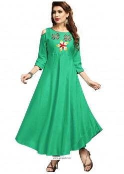Jade Green Rayon Embroidered Designer Readymade Kurti