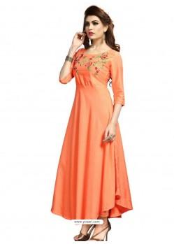 Orange Rayon Embroidered Designer Readymade Kurti
