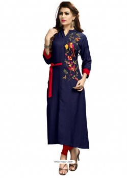 Navy Blue Rayon Embroidered Designer Readymade Kurti