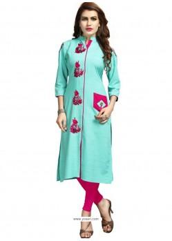 Sky Blue Rayon Embroidered Designer Readymade Kurti