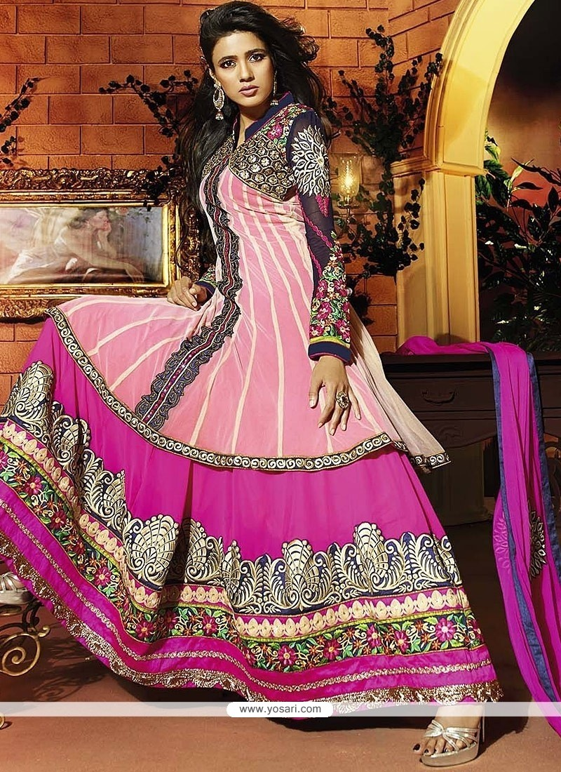 Magenta Georgette Anarkali Salwar Suit
