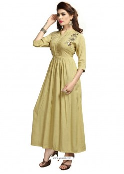 Beige Rayon Embroidered Designer Readymade Kurti