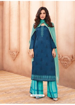 Peacock Blue Cotton Satin Designer Palazzo Suit