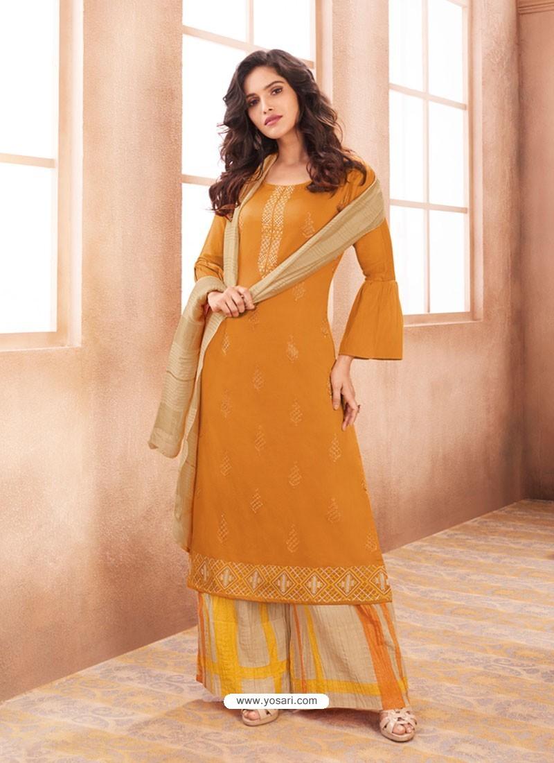 9df1c17c18 Buy Mustard Cotton Satin Designer Palazzo Suit | Palazzo Salwar Suits