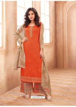 Orange Cotton Satin Designer Palazzo Suit