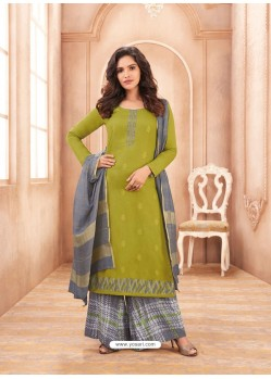 Green Cotton Satin Designer Palazzo Suit