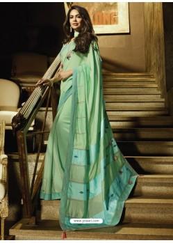 Sea Green Embroidered Georgette Silk Designer Saree