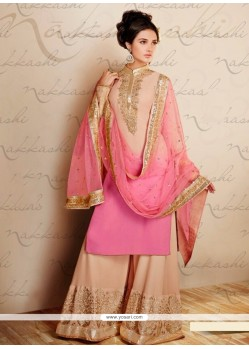 Cream And Pink Shaded Georgette Palazzo Suit