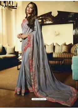 Grey Embroidered Georgette Designer Saree