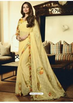 Yellow Embroidered Chiffon Designer Saree