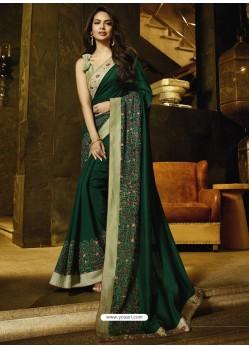 Dark Green Embroidered Georgette Silk Designer Saree