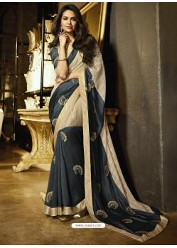 Multi Colour Embroidered Chiffon Designer Saree