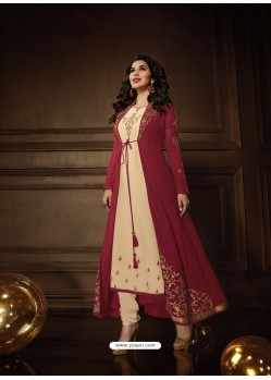 Maroon And Cream Georgette Embroidered Designer Anarkali Suit
