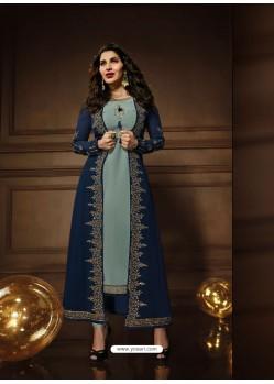 Navy Blue And Pigeon Georgette Embroidered Designer Anarkali Suit