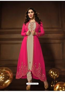 Rani And Light Beige Georgette Embroidered Designer Anarkali Suit