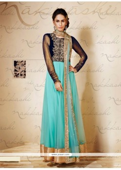 Awesome Blue Net And Velvet Anarkali Suit