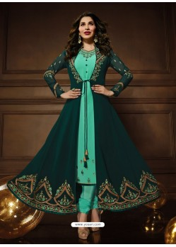 Dark Green And Jade Green Georgette Embroidered Designer Anarkali Suit