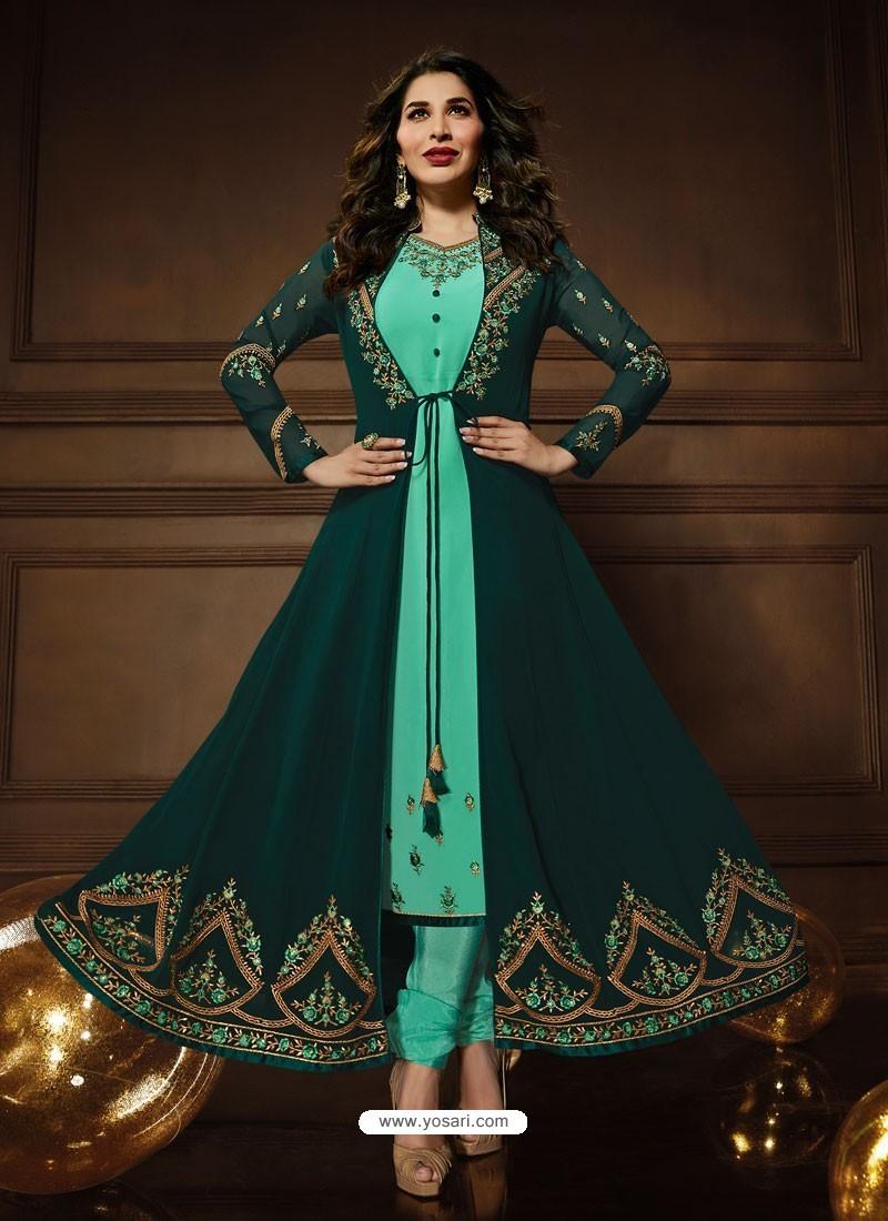 Dark Green And Jade Green Georgette Embroidered Designer Anarkali Suit