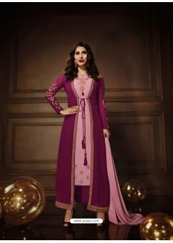 Purple And Pink Georgette Embroidered Designer Anarkali Suit