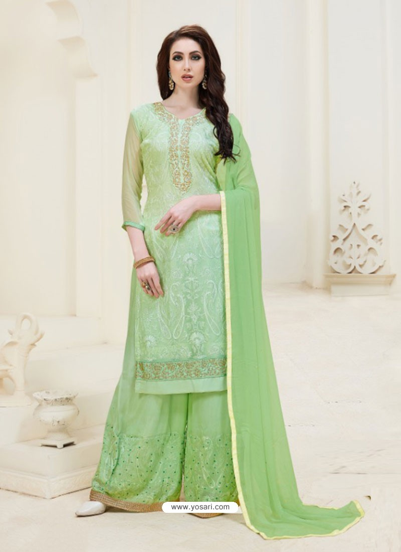 Sea Green Embroidered Georgette Designer Palazzo Suit