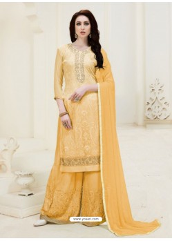 Yellow Embroidered Georgette Designer Palazzo Suit