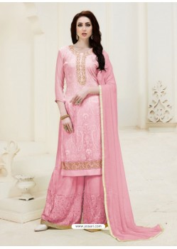Pink Embroidered Georgette Designer Palazzo Suit