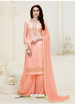 Light Orange Embroidered Georgette Designer Palazzo Suit
