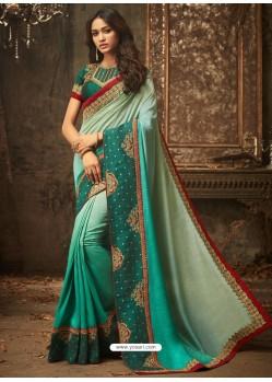 Multi Colour Embroidered Silk Shaded Designer Saree